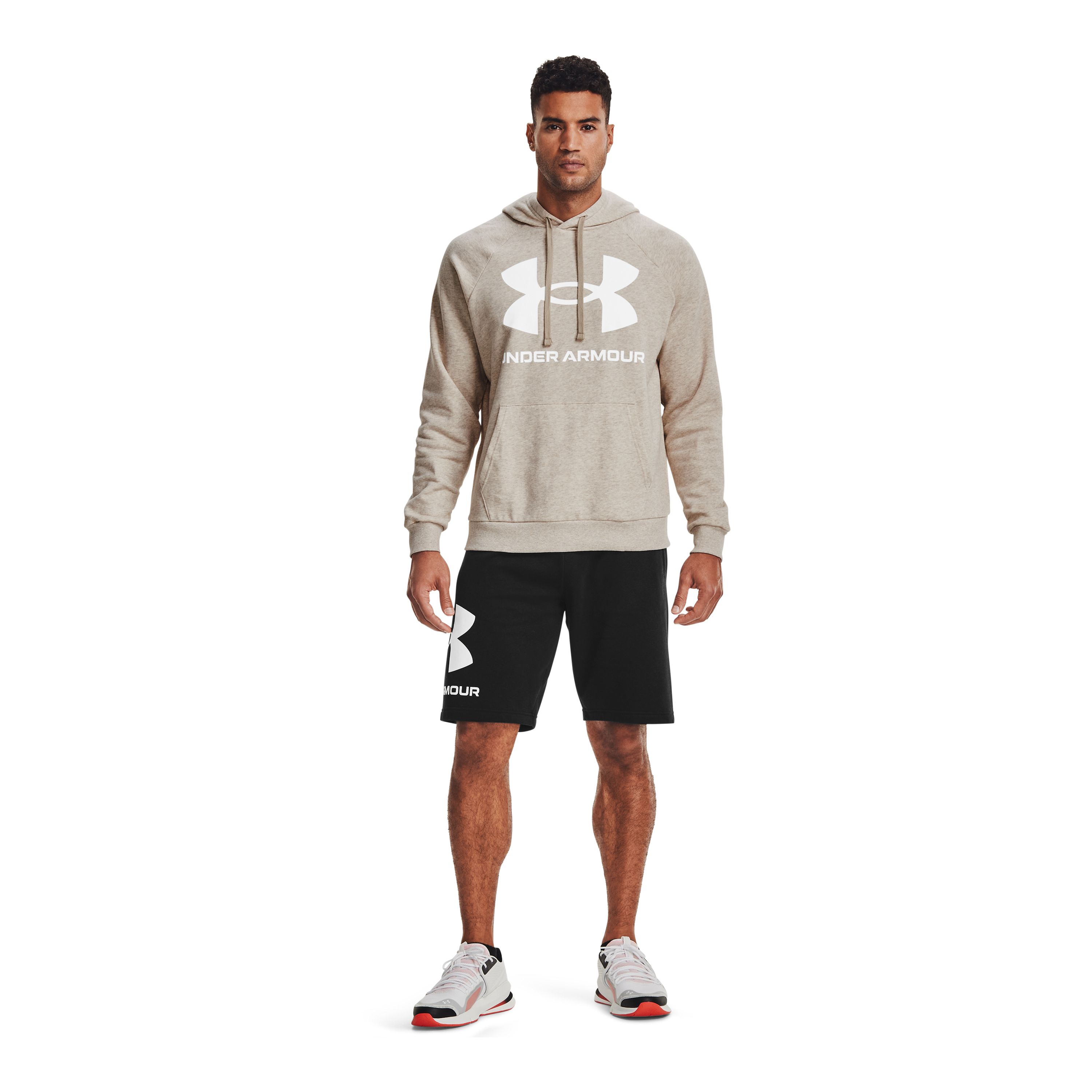 Poleron Hombre Rival Fleece Big Logo HD Beige